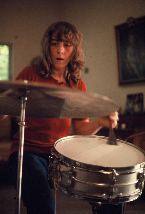 Young Eskil playing the drums.